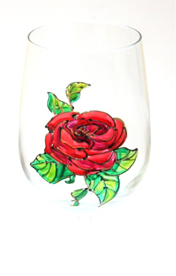 Rose Wine Glasses, Hand Painted Glasses, Stemless Wine Glasses, Red Rose Wine Glass, Wine Gift, Beauty and the Beast