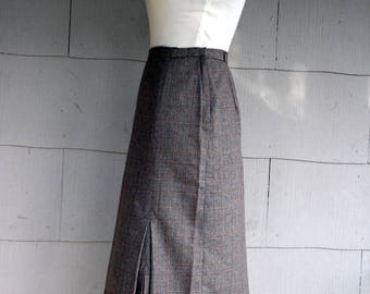 Vintage Skirt / 70s Plaid Pencil Skirt / Small