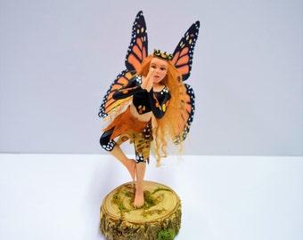 "Monarch Butterfly Fairy, Yoga Faerie Tree Pose, Meditation Faery, OOAK handmade collectible faery, FREE SHIPPING ""Vasara"""