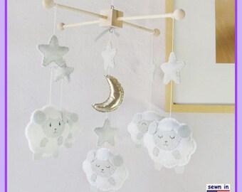 Baby Crib Mobile, Sheep Mobile, Nursery Decoration, Sleepy Sheep Farm, Neutral Nursery Decor, White Gray Gold Mobile