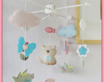 Cat Mobile, Kitten Nursery Decor, Baby Mobile, Cat Baby Mobile, Baby Crib Mobile, Pet Mobile Decor, Butterfly Flower Cloud