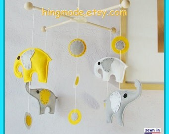 Baby Crib Mobile, Baby Mobile, Nursery Decor, Baby Shower Gift, Elephants Mobile, Polka Dot Sunflower Yellow Gray White