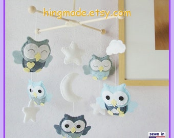 Baby Mobile, Baby Crib Mobile, Nursery Decor, Cot Mobile, Neutral Mobile, Owl Mobile, Ceiling Hanging Mobile, Grayish Blue
