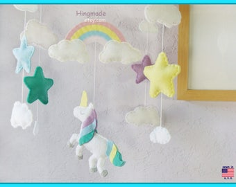 Unicorn Mobile, Unicorn Nursery, Baby Mobile, Magic Unicorn, Sweet Unicorn Rainbow Clouds and Stars, Aqua Green Berry Purple Yellow theme