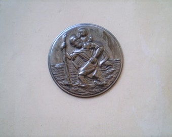 St. Christopher - Vintage Round Metal Stamping - Catholic - Travel Protection
