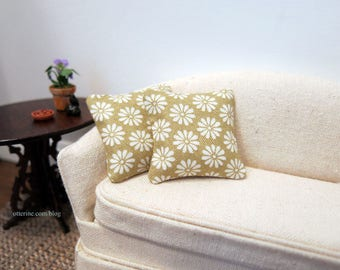Taupe daisy pillows - set of two - dollhouse miniature