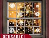 REUSABLE - Window Cling - Christmas Decorations - Christmas Decor - Christmas Snowflakes - Christmas Wall Decor - Snowflake Decals