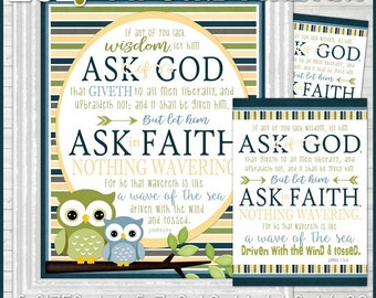 2017 YW Theme ASK of GOD, Ask in Faith Subway Art, Decor, Poster, Mutual Theme, James 1:5-6  - Young Women, lds - Printable Instant Download