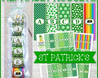 ALPHABET Nugget Wrappers, St. Patrick's Day Nugget Wrapper, St. Patty's Day, Party Favor, Class Party Ideas - Printable Instant Download