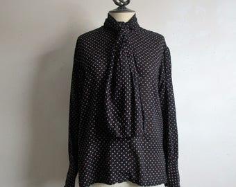 Vintage Two Tone Dot 80s Blouse Kay Kerr Black Fuchsia 1980s w- Necktie Blouse Large