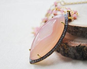 Pink Druzy Necklace, Druzy Necklace, Pink Necklace, Pink Jewelry, Druzy Jewelry, Long Necklace, Stone Necklace, Layering Necklace, Boho
