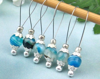 Stitch Markers, Knitting, Blue Agate, Semi-Precious Stones, Snag Free, Jeweled Tool, Knitting Accessory, Natural Stone, Gift for Knitters