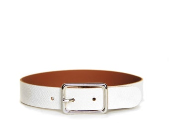 Basic Buckle Choker -- Arctic White Leather