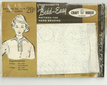 Bead Easy Pattern for Hand Beading 1950s NOS