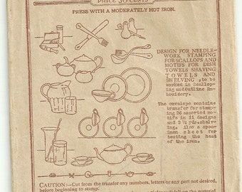 Vintage 1940s Butterick Transfer 10106 for Kitchen Items and Utensils
