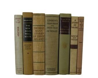 Vintage Books, Shades of  Beige  Vintage Decorative Books Book Decor