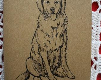 Golden Retriever Dog - Hand Illustrated Pocket Moleskine Sketchbook / Notebook / Journal