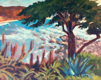 Carmel by the sea - Painting, Original Oil, Landscape, Seascape, Beach, Ocean, Sand, Home Decor, Wall Art, Art