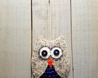 Wool Felt Owl Ornament- Blue