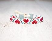 Heart Bracelet - Beaded Bracelet - Flower Bracelet - Adjustable Bracelet - Gifts For Her - Seed Bead Bracelet - Valentines Gift
