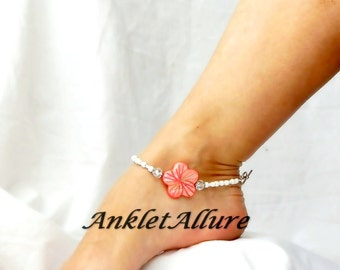 Coral Flower Anklet Beach Ankle Bracelet White Hibiscus Body Jewelry Fetish Foot Jewelry
