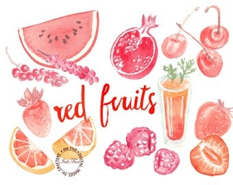 Red Watercolour Fruits clipart. Watercolor clip art images for digital scrapbooking, invitations, cards. Hand drawn downloadable fruit jpgs