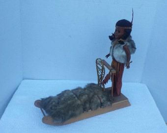 Vintage Eskimo Girl With Sled