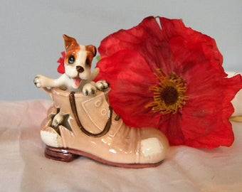 Dog in Boot Ornament - Puppy Dog in Boot - 1960's Animal Ornament