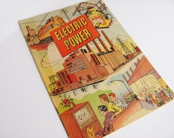 "Electric Power ""Comic"" Soft Cover Book 1952 Prepared By Westinghouse School Services Early Atomic Power And Computer Educational Comic Book"