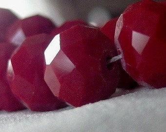 12mm Faceted Cranberry Red Velvet Opaque Crystal Rondelle Beads, 36 pieces, 12 inches