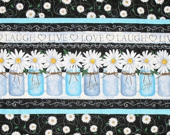Daisy Table Runner, with Canning Jars made with Timeless Treasures Fabric