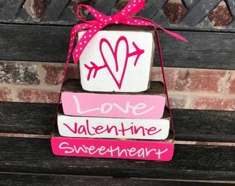 "Valentine's ""MINI"" stacker--Love Valentine Sweetheart (bright)"