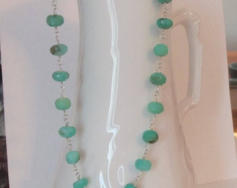 Peruvian Blue Green Opal Natural Stones Handmade Wire Wrapped Necklace with Sterling Silver