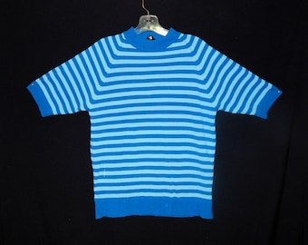 Vintage 60's blue 2 tone striped beatnik mod short sleeves knit sweater polo men rockabilly by Tarleton - M / L