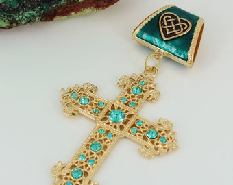 Rhinestone Cross with Celtic Heart Enameled Bail Scarf Pendant ~ Aqua and Gold ~ Scarf Accessory~ Scarf Jewelry