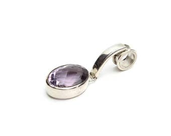 Genuine Amethyst and Sterling Silver Drop Pendant