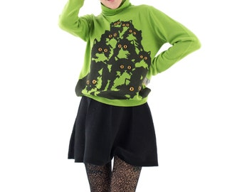 Green Crazy Kitty Sweater
