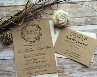 Rustic Wedding Invitation, Laurel Wedding Invitation, Shabby Chic Wedding Invitation, Barn Wedding Invitation, Country Wedding