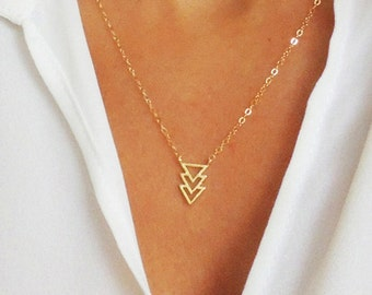 Tiny Chevron Pendant, Chevron Necklace, Triple Triangle Necklace, Layering Necklace, Minimalist, Wedding, Bridesmaids