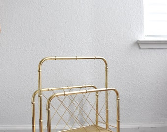 vintage brass faux bamboo brass magazine rack / hollywood regency