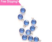 Set of 10 Blue Swarovski 6mm Sapphire Crystal Charms for Jewelry and Crafts