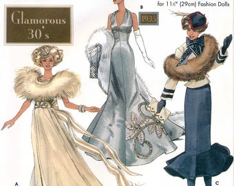 Simplicity 9704 Glamorous 30's Clothes for 11.5 Barbie Fashion Dolls Sewing Pattern - Uncut