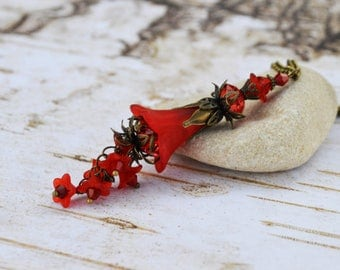 Red Cascading Flowers Pendant Necklace,Antique Bronze Red Bell Flower Necklace, Vintage Natural Inspired Flower Pendant