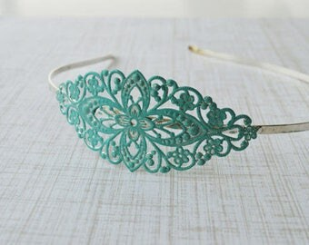 SALE-Vintage Style Patina Filigree Headband Blue Birthday Party Princess Party Bridesmaid or Prom