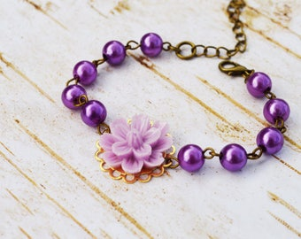 SALE - Lilac Sakura Pearls Bracelet, Vintage Pearls Adjustable Bracelet, Flower Pearls Bracelet,Wedding Bridal Bridesmaid Bracelet
