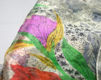 Exquisite Gauzy Silk Scarf 1950s Bold Spring Flowers on grey ground