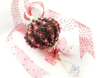 Beading Tutorial Pattern - PDF file - Balloon Christmas ornament - peyote - download