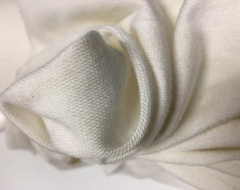 French terry Modal Supima cotton spandex Knit Fabric soft luxurious Off White