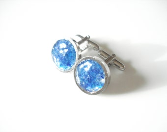Sea Glass cufflinks of Bright Cobalt Blue 19mm rockpools  E1725 - from Seaham,  UK