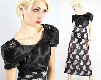 Vintage 30's Cocktail Dress Sheen Sateen SHEER Brocade FEATHERS Floor Lenght  // Dresses by TatiTati Style on Etsy